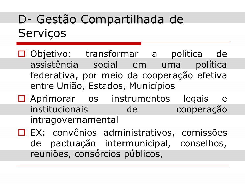 D- Gestão Compartilhada de Serviços Objetivo: transformar a política de assistência social em uma política federativa, por meio da cooperação efetiva