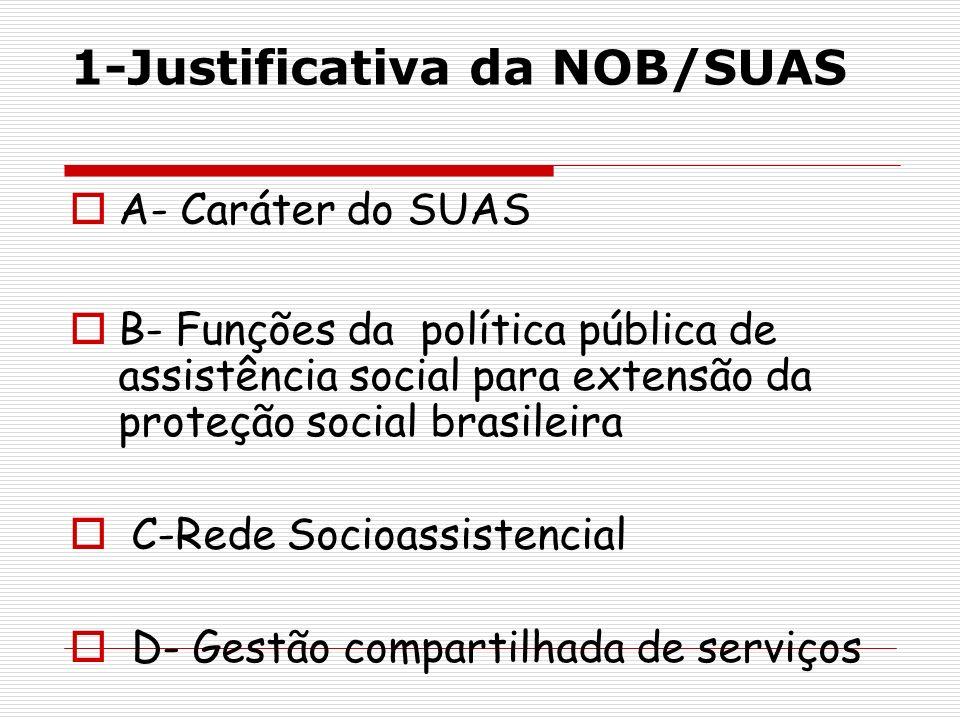 1-Justificativa da NOB/SUAS A- Caráter do SUAS B- Funções da política pública de assistência social para extensão da proteção social brasileira C-Rede