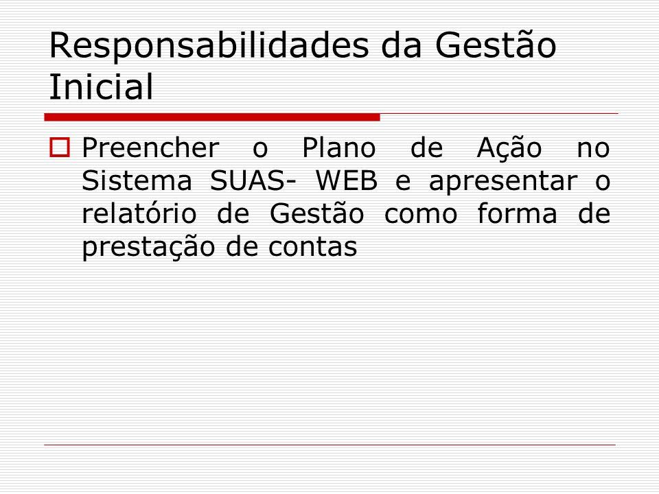 Responsabilidades da Gestão Inicial Preencher o Plano de Ação no Sistema SUAS- WEB e apresentar o relatório de Gestão como forma de prestação de conta