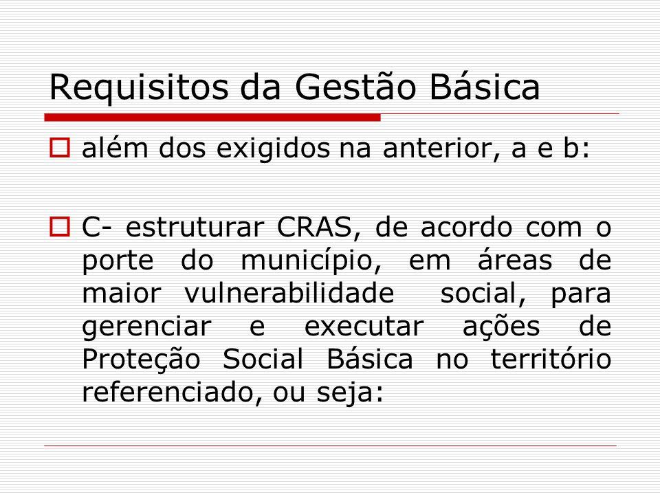 Requisitos da Gestão Básica além dos exigidos na anterior, a e b: C- estruturar CRAS, de acordo com o porte do município, em áreas de maior vulnerabil