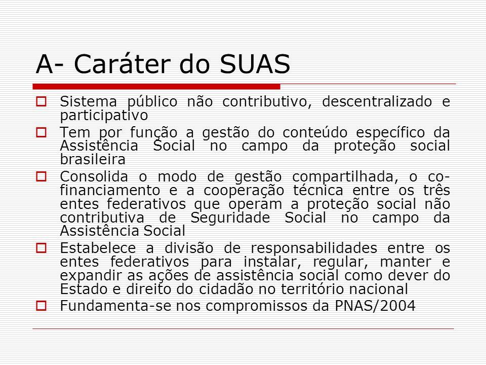 A- Caráter do SUAS Sistema público não contributivo, descentralizado e participativo Tem por função a gestão do conteúdo específico da Assistência Soc