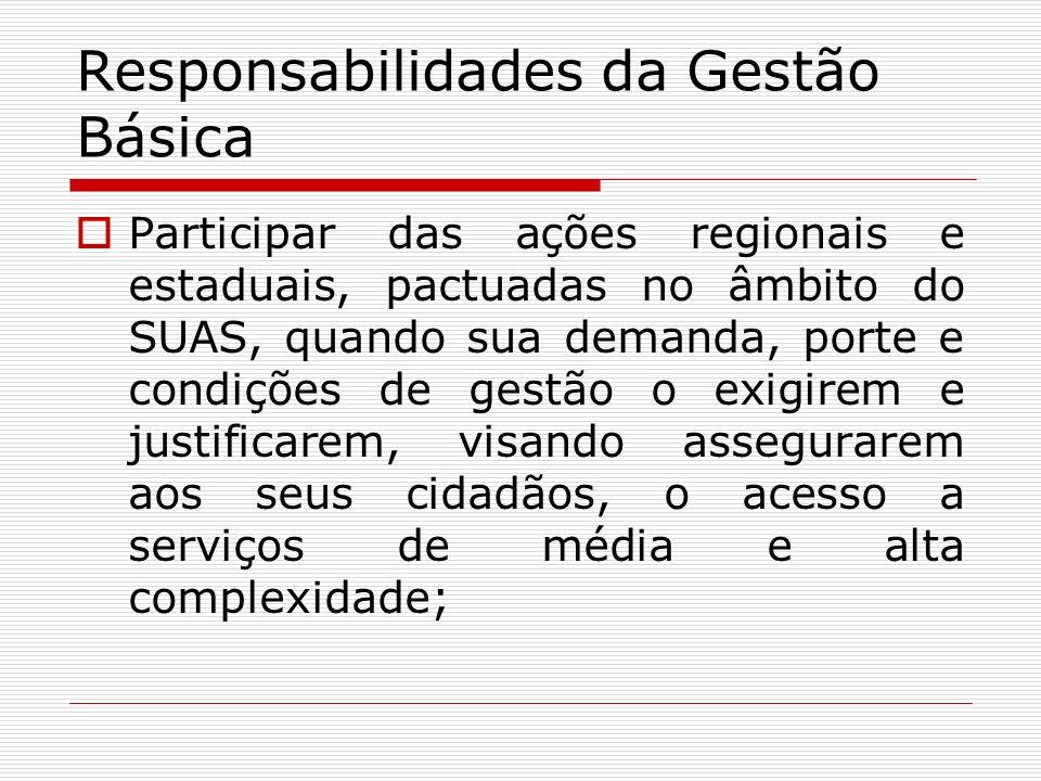 Responsabilidades da Gestão Básica Participar das ações regionais e estaduais, pactuadas no âmbito do SUAS, quando sua demanda, porte e condições de g