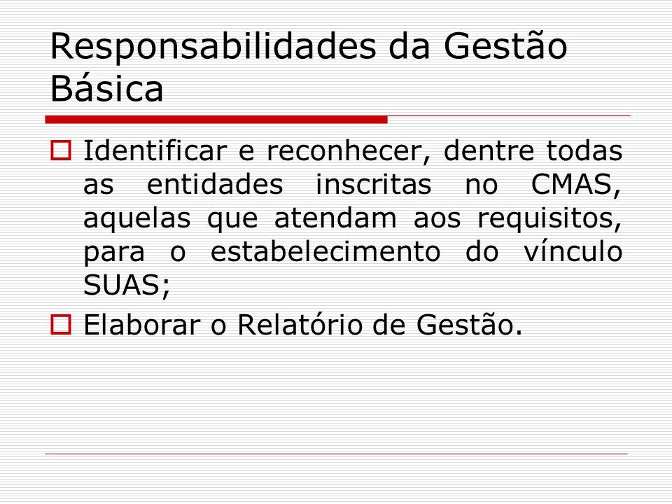 Responsabilidades da Gestão Básica Identificar e reconhecer, dentre todas as entidades inscritas no CMAS, aquelas que atendam aos requisitos, para o e