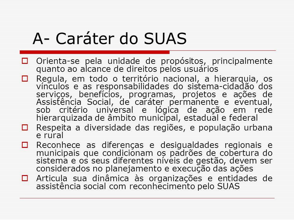 A- Caráter do SUAS Eixos da gestão do SUAS Precedência da Gestão Pública da Política Alcance de direitos socioassistenciais pelos usuários Matricialidade sociofamiliar Territorialização Descentralização político- administrativa.