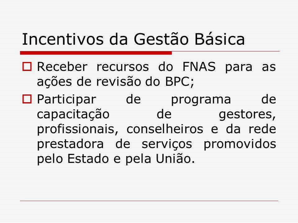 Incentivos da Gestão Básica Receber recursos do FNAS para as ações de revisão do BPC; Participar de programa de capacitação de gestores, profissionais