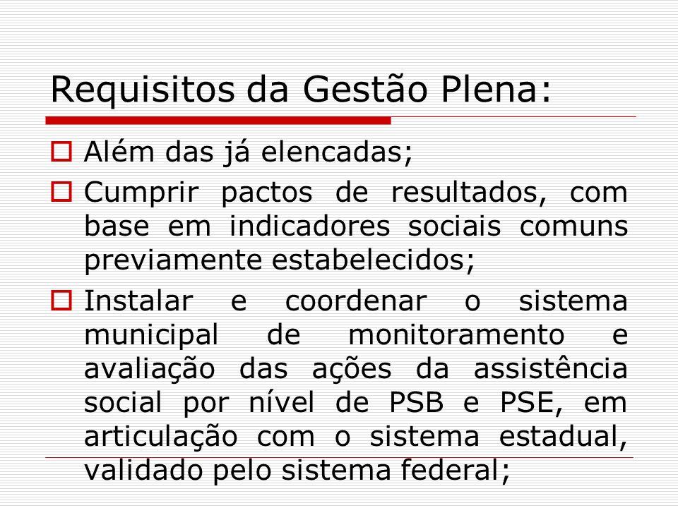 Requisitos da Gestão Plena: Além das já elencadas; Cumprir pactos de resultados, com base em indicadores sociais comuns previamente estabelecidos; Ins