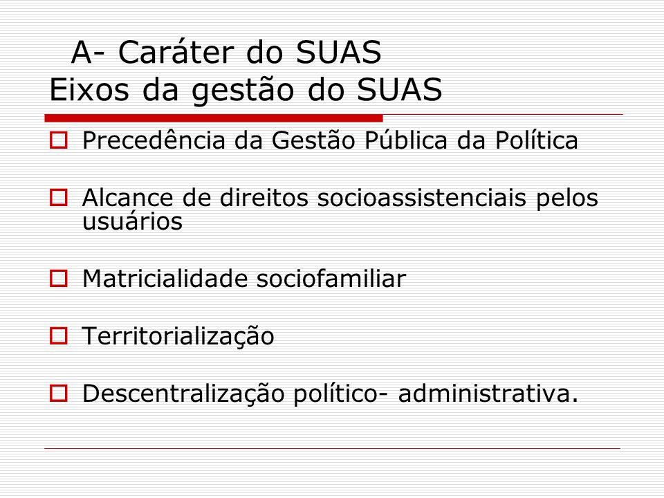 A- Caráter do SUAS Eixos da Gestão do SUAS Financiamento partilhado entre os entes federados Fortalecimento da relação democrática entre Estado e Sociedade Civil Valorização da presença do controle social