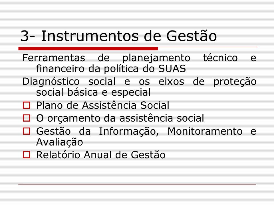 3- Instrumentos de Gestão Ferramentas de planejamento técnico e financeiro da política do SUAS Diagnóstico social e os eixos de proteção social básica