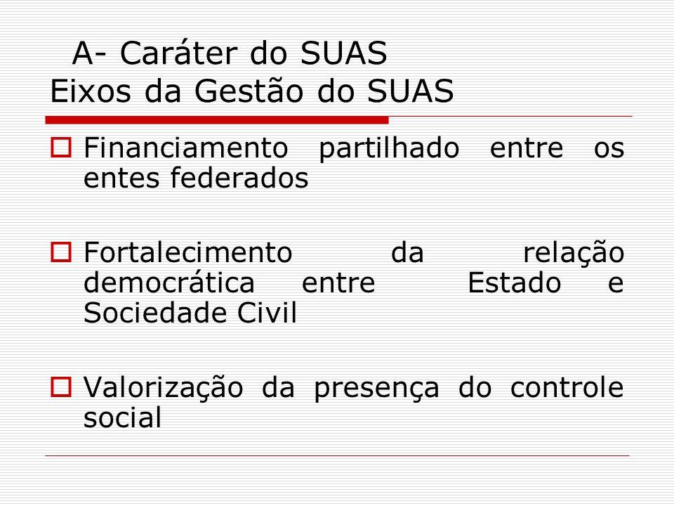A- Caráter do SUAS Eixos da Gestão do SUAS Financiamento partilhado entre os entes federados Fortalecimento da relação democrática entre Estado e Soci