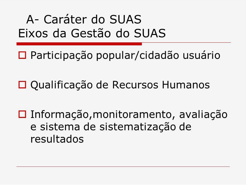 A- Caráter do SUAS Eixos da Gestão do SUAS Participação popular/cidadão usuário Qualificação de Recursos Humanos Informação,monitoramento, avaliação e
