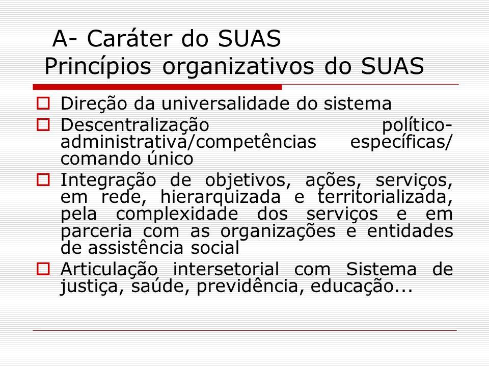A- Caráter do SUAS Princípios organizativos do SUAS Direção da universalidade do sistema Descentralização político- administrativa/competências especí