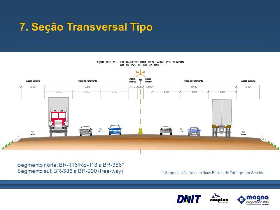 7. Seção Transversal Tipo Segmento norte: BR-116/RS-118 a BR-386* Segmento sul: BR-386 a BR-290 (free-way) * Segmento Norte com duas Faixas de Tráfego