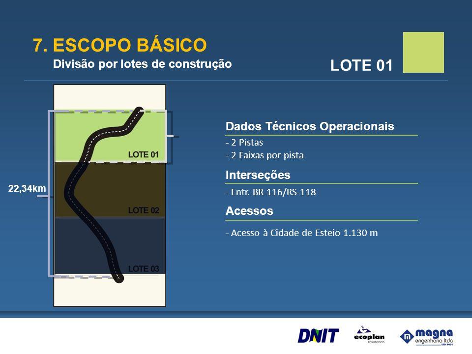 7. ESCOPO BÁSICO Divisão por lotes de construção LOTE 01 Dados Técnicos Operacionais - 2 Pistas - 2 Faixas por pista Interseções - Entr. BR-116/RS-118