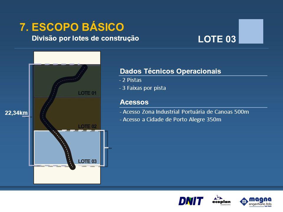 7. ESCOPO BÁSICO Divisão por lotes de construção LOTE 03 Dados Técnicos Operacionais Acessos - 2 Pistas - 3 Faixas por pista - Acesso Zona Industrial