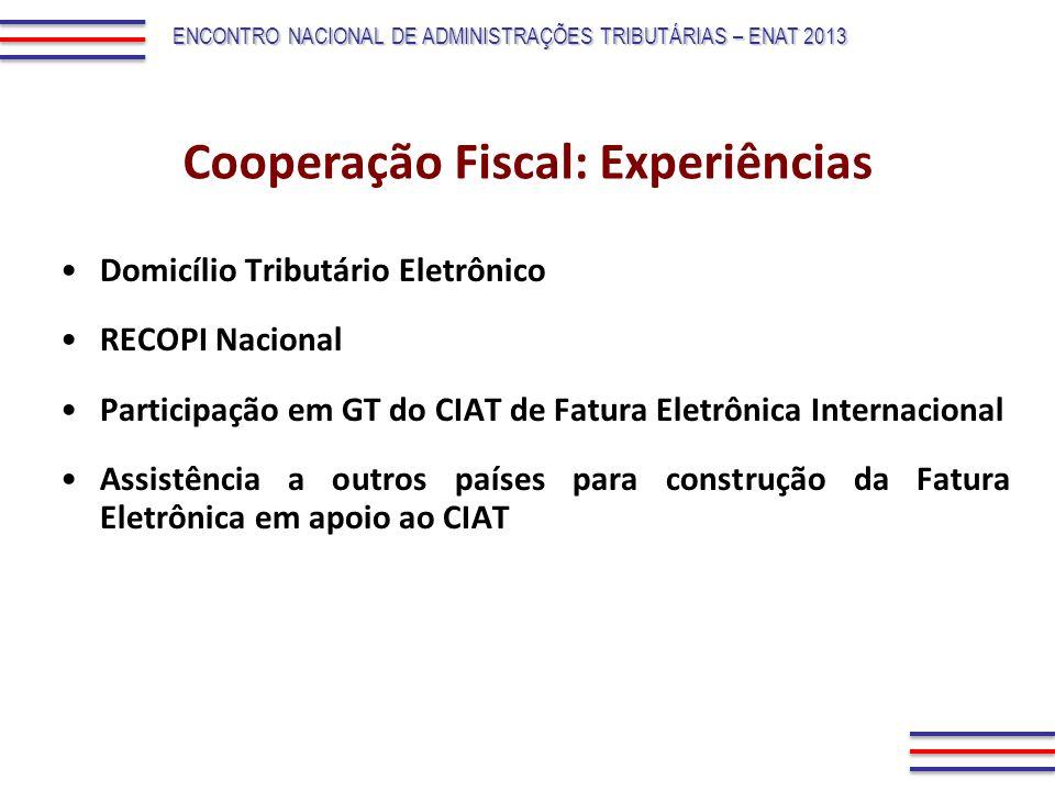 Domicílio Tributário Eletrônico RECOPI Nacional Participação em GT do CIAT de Fatura Eletrônica Internacional Assistência a outros países para constru