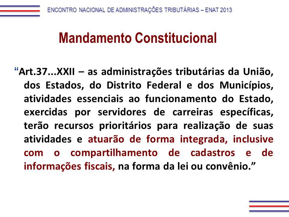 Art.37...XXII – as administrações tributárias da União, dos Estados, do Distrito Federal e dos Municípios, atividades essenciais ao funcionamento do E