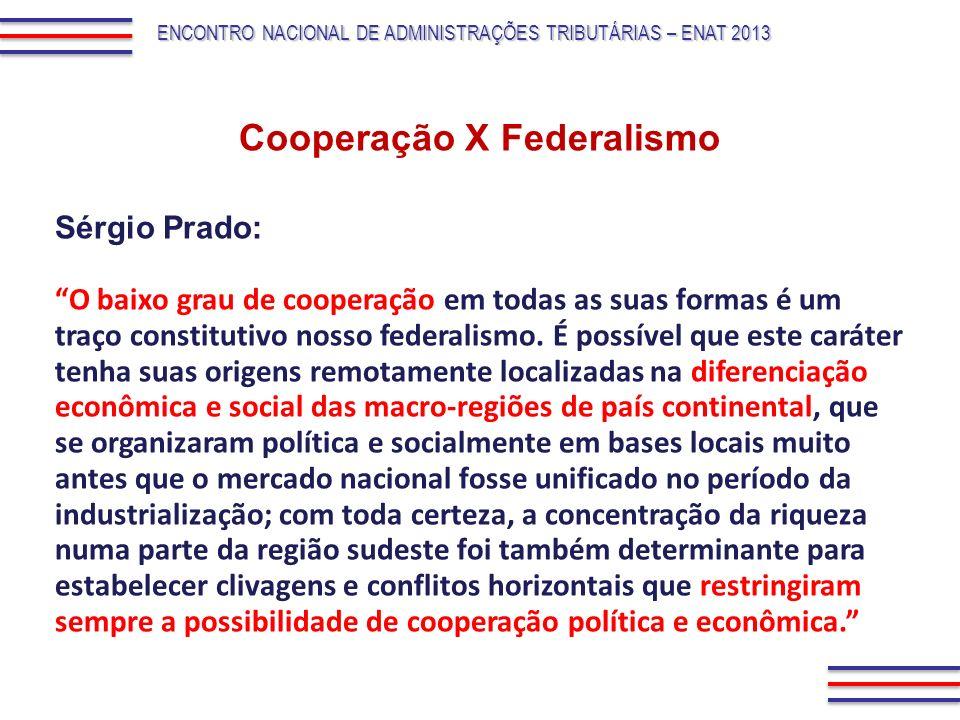 O baixo grau de cooperação em todas as suas formas é um traço constitutivo nosso federalismo. É possível que este caráter tenha suas origens remotamen