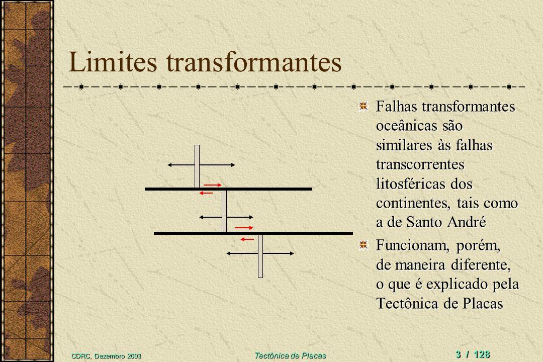 CDRC, Dezembro 2003 Tectônica de Placas 3 / 128 Limites transformantes Falhas transformantes oceânicas são similares às falhas transcorrentes litosféricas dos continentes, tais como a de Santo André Funcionam, porém, de maneira diferente, o que é explicado pela Tectônica de Placas