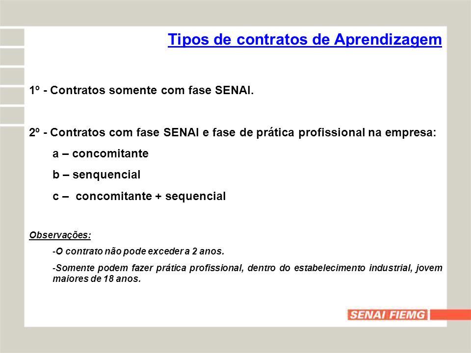 Tipos de contratos de Aprendizagem 1º - Contratos somente com fase SENAI. 2º - Contratos com fase SENAI e fase de prática profissional na empresa: a –