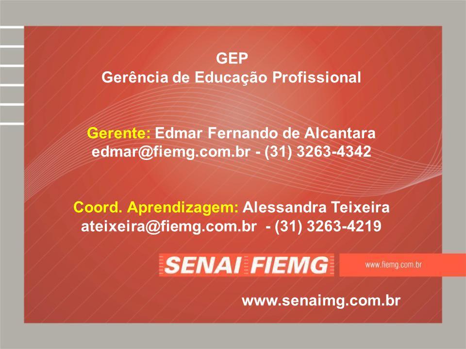 GEP Gerência de Educação Profissional Gerente: Edmar Fernando de Alcantara edmar@fiemg.com.br - (31) 3263-4342 Coord. Aprendizagem: Alessandra Teixeir