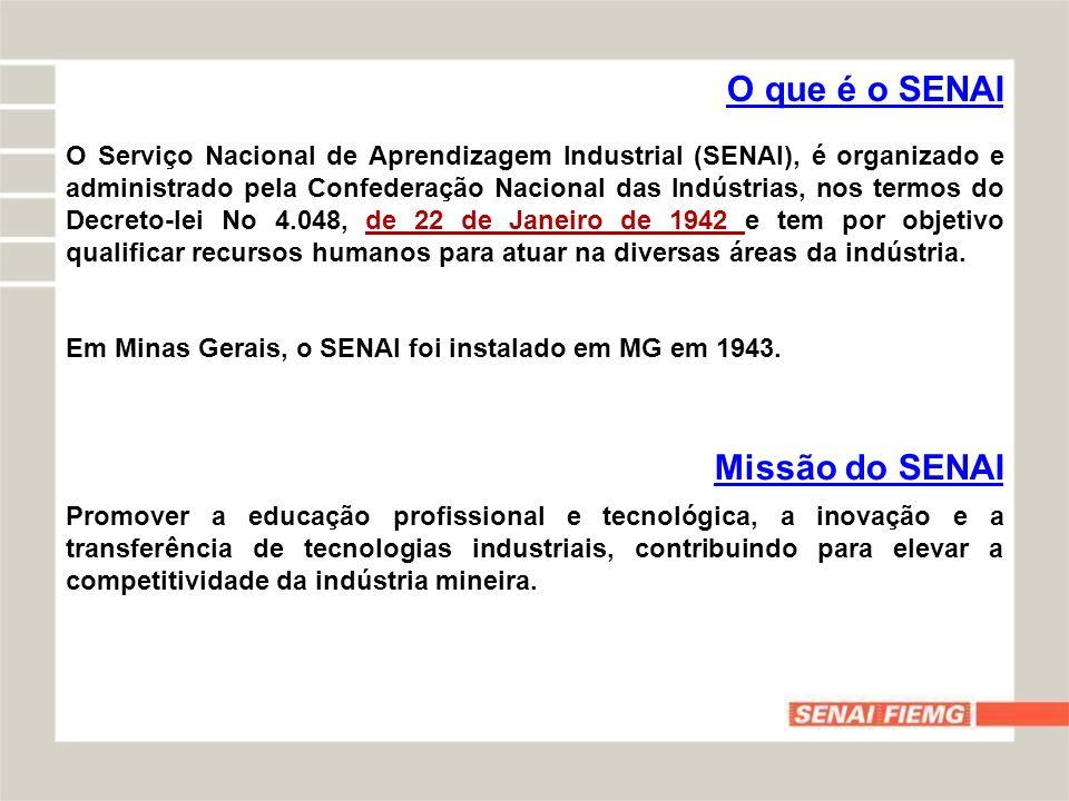 O que é o SENAI O Serviço Nacional de Aprendizagem Industrial (SENAI), é organizado e administrado pela Confederação Nacional das Indústrias, nos term
