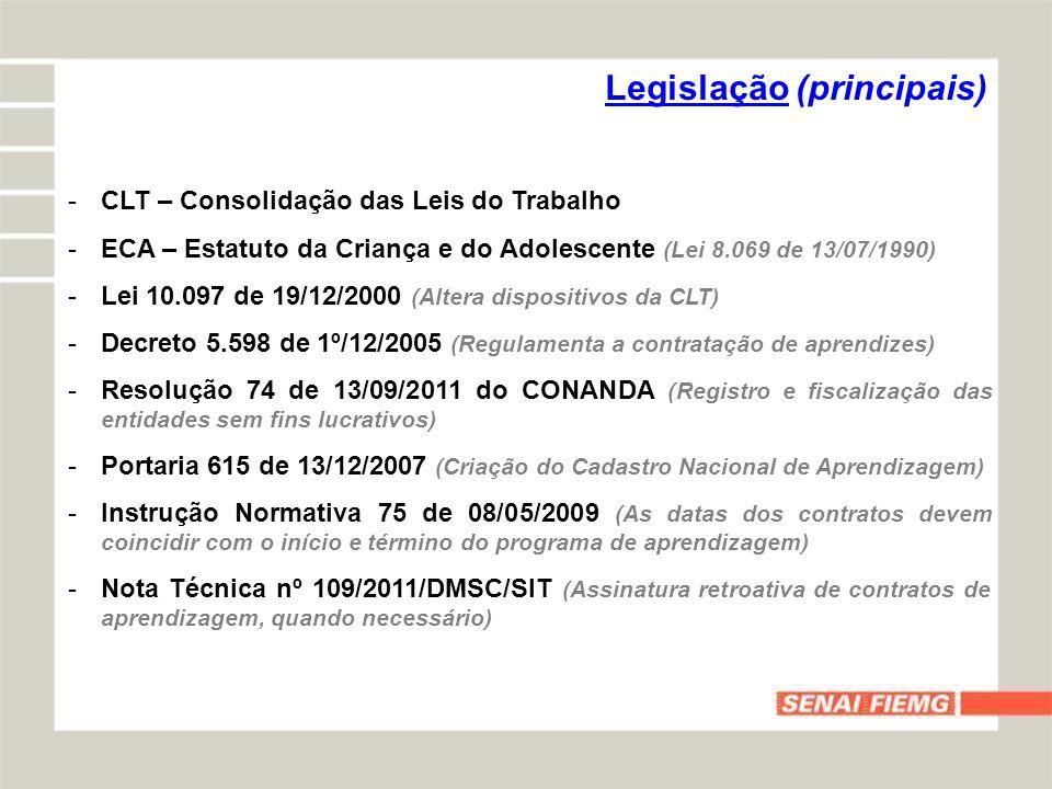 -CLT – Consolidação das Leis do Trabalho -ECA – Estatuto da Criança e do Adolescente (Lei 8.069 de 13/07/1990) -Lei 10.097 de 19/12/2000 (Altera dispo