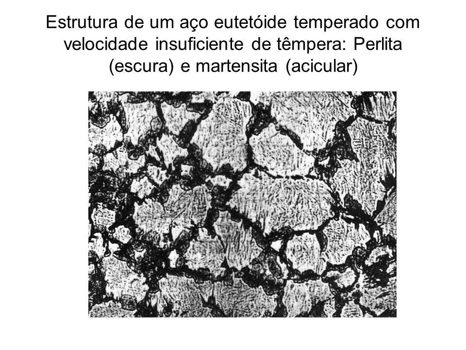 Estrutura de um aço eutetóide temperado com velocidade insuficiente de têmpera: Perlita (escura) e martensita (acicular)