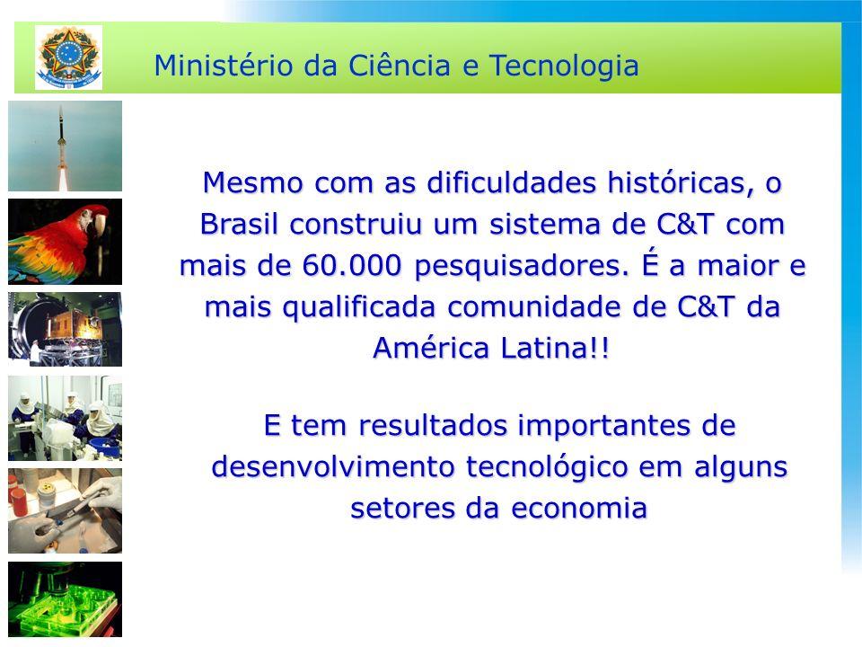 Ministério da Ciência e Tecnologia Mesmo com as dificuldades históricas, o Brasil construiu um sistema de C&T com mais de 60.000 pesquisadores. É a ma
