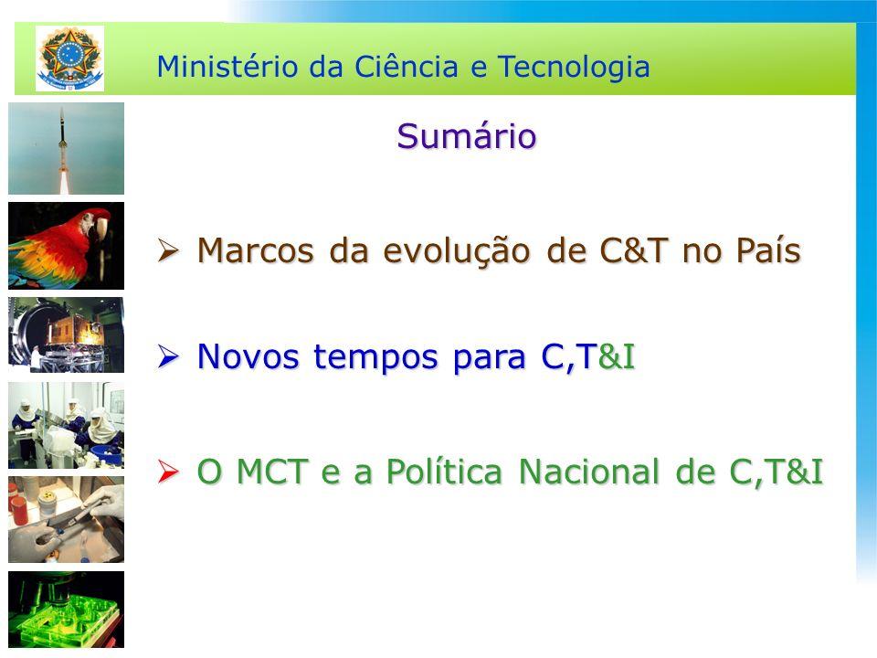 Ministério da Ciência e Tecnologia Marcos da evolução de C&T no País Marcos da evolução de C&T no País Novos tempos para C,T&I Novos tempos para C,T&I