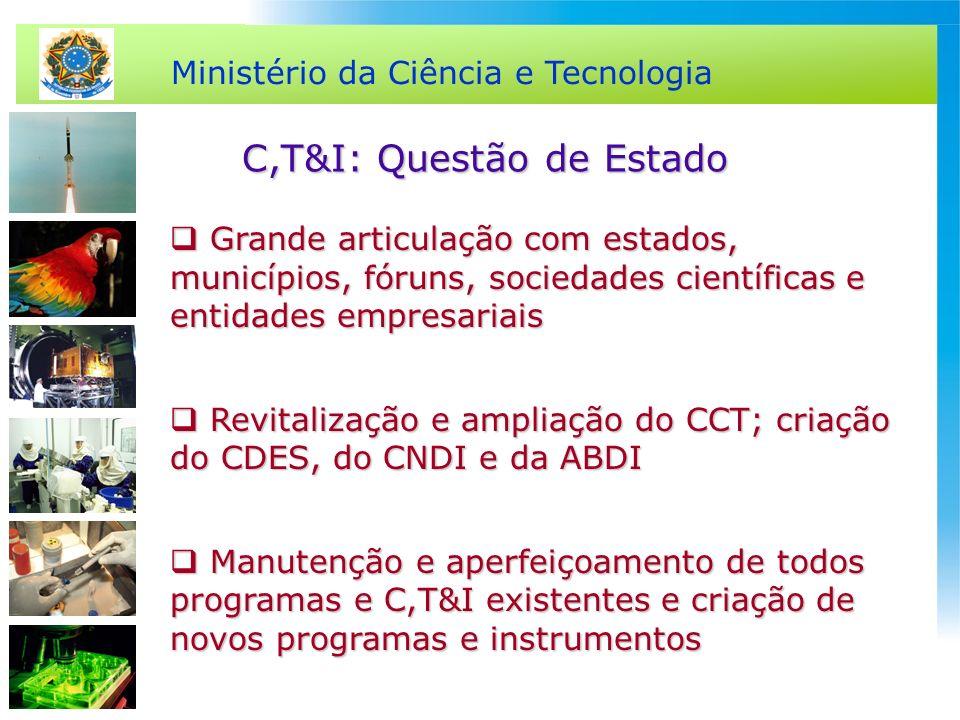 Ministério da Ciência e Tecnologia C,T&I: Questão de Estado Grande articulação com estados, municípios, fóruns, sociedades científicas e entidades emp