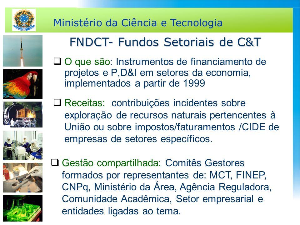 Ministério da Ciência e Tecnologia FNDCT- Fundos Setoriais de C&T O que são: Instrumentos de financiamento de projetos e P,D&I em setores da economia,