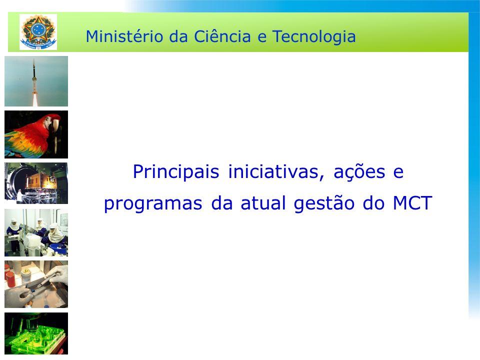 Ministério da Ciência e Tecnologia Principais iniciativas, ações e programas da atual gestão do MCT