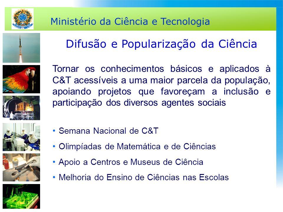 Ministério da Ciência e Tecnologia Difusão e Popularização da Ciência Semana Nacional de C&T Olimpíadas de Matemática e de Ciências Apoio a Centros e