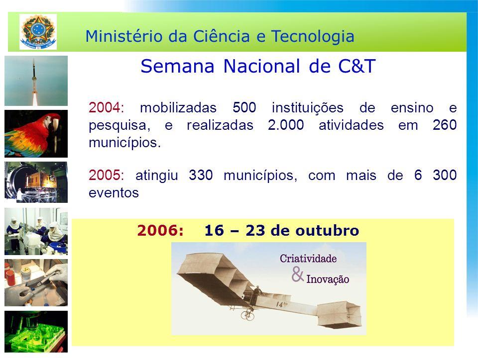 Ministério da Ciência e Tecnologia 2004: mobilizadas 500 instituições de ensino e pesquisa, e realizadas 2.000 atividades em 260 municípios. 2005: ati