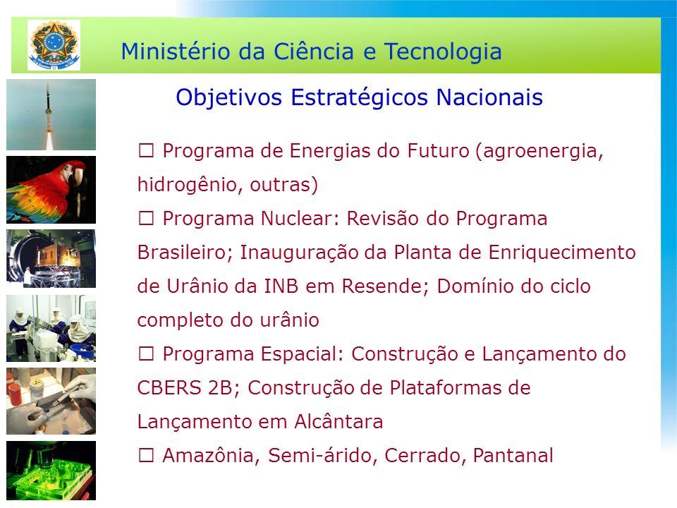 Ministério da Ciência e Tecnologia Objetivos Estratégicos Nacionais  Programa de Energias do Futuro (agroenergia, hidrogênio, outras)  Programa Nucl