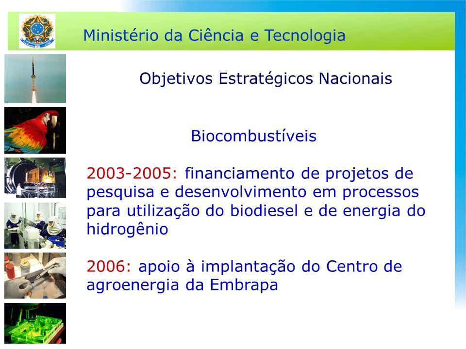 Ministério da Ciência e Tecnologia Biocombustíveis 2003-2005: financiamento de projetos de pesquisa e desenvolvimento em processos para utilização do
