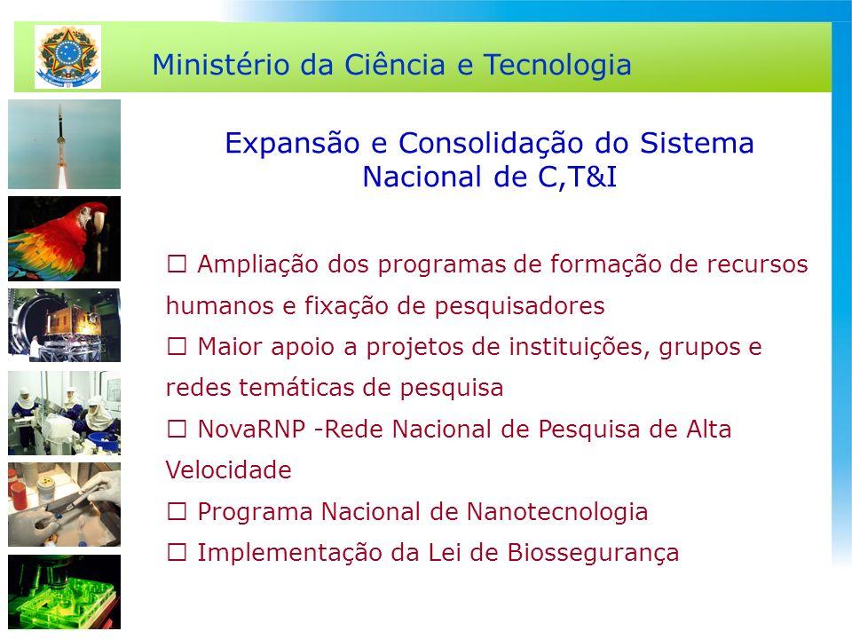 Ministério da Ciência e Tecnologia Expansão e Consolidação do Sistema Nacional de C,T&I Ampliação dos programas de formação de recursos humanos e fixa