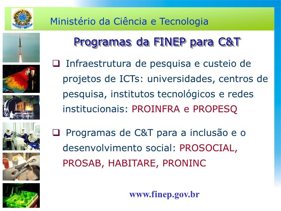 Ministério da Ciência e Tecnologia Infraestrutura de pesquisa e custeio de projetos de ICTs: universidades, centros de pesquisa, institutos tecnológic