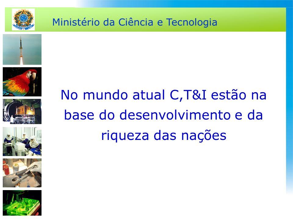 Ministério da Ciência e Tecnologia No mundo atual C,T&I estão na base do desenvolvimento e da riqueza das nações