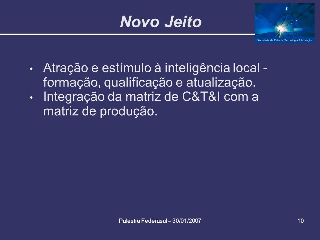 Palestra Federasul – 30/01/200710 Novo Jeito Atração e estímulo à inteligência local - formação, qualificação e atualização. Integração da matriz de C
