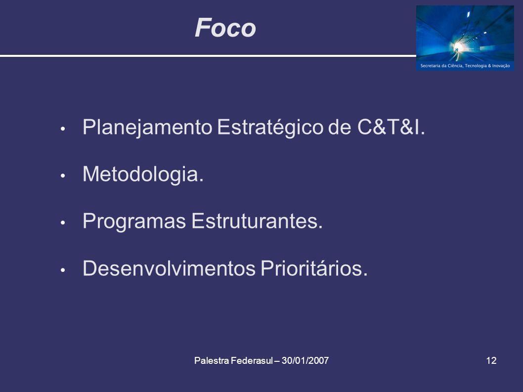 Palestra Federasul – 30/01/200712 Foco Planejamento Estratégico de C&T&I. Metodologia. Programas Estruturantes. Desenvolvimentos Prioritários.