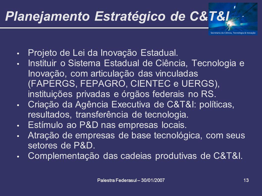 Palestra Federasul – 30/01/200713 Planejamento Estratégico de C&T&I Projeto de Lei da Inovação Estadual. Instituir o Sistema Estadual de Ciência, Tecn