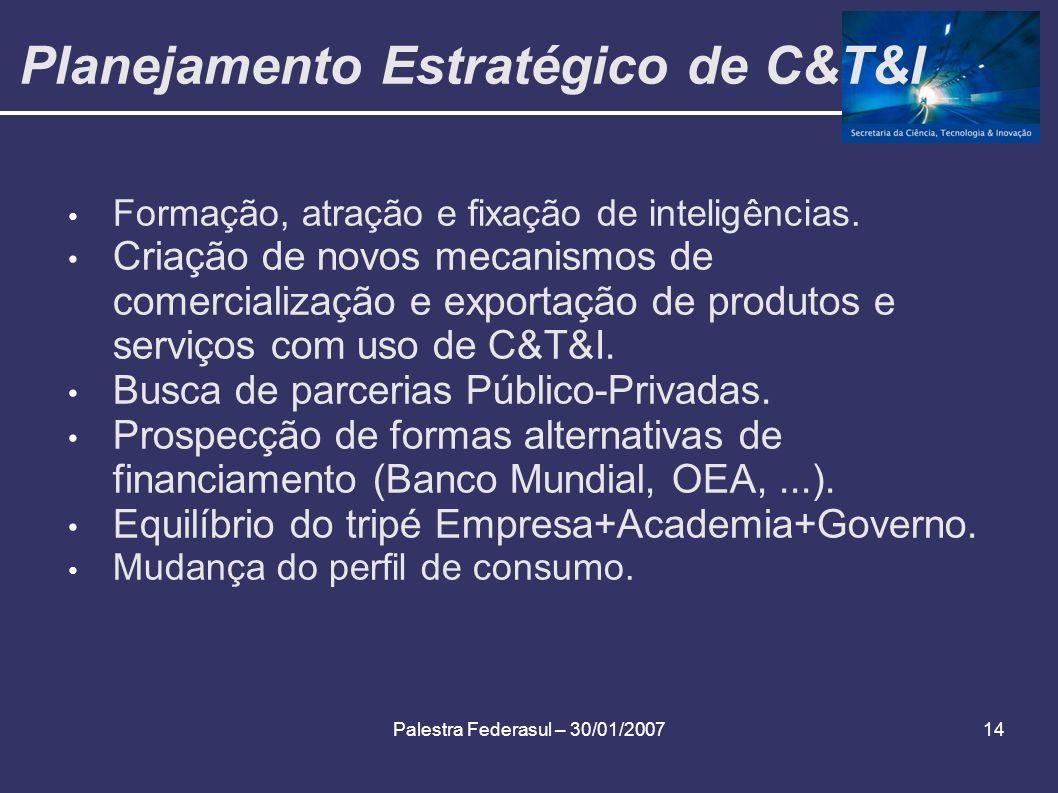Palestra Federasul – 30/01/200714 Planejamento Estratégico de C&T&I Formação, atração e fixação de inteligências. Criação de novos mecanismos de comer