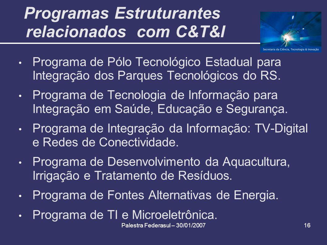 Palestra Federasul – 30/01/200716 Programas Estruturantes relacionados com C&T&I Programa de Pólo Tecnológico Estadual para Integração dos Parques Tec