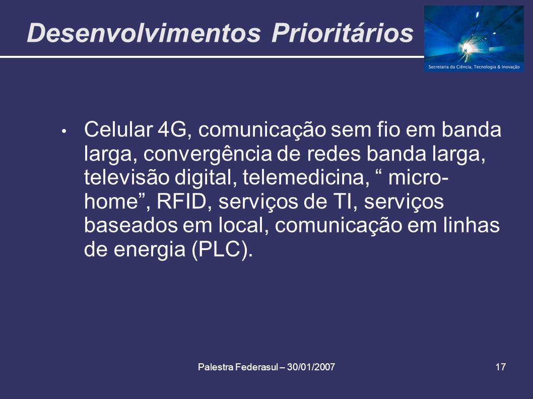 Palestra Federasul – 30/01/200717 Desenvolvimentos Prioritários Celular 4G, comunicação sem fio em banda larga, convergência de redes banda larga, tel