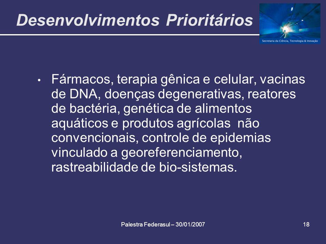 Palestra Federasul – 30/01/200718 Desenvolvimentos Prioritários Fármacos, terapia gênica e celular, vacinas de DNA, doenças degenerativas, reatores de