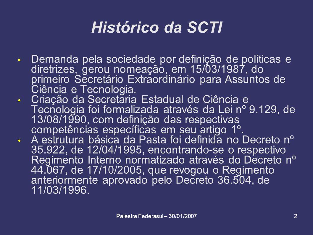 Palestra Federasul – 30/01/20072 Histórico da SCTI Demanda pela sociedade por definição de políticas e diretrizes, gerou nomeação, em 15/03/1987, do p