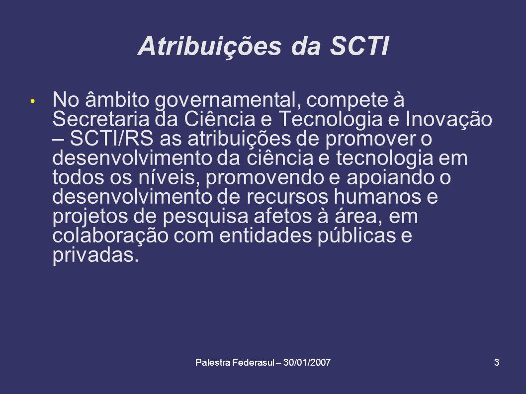 Palestra Federasul – 30/01/20073 Atribuições da SCTI No âmbito governamental, compete à Secretaria da Ciência e Tecnologia e Inovação – SCTI/RS as atr