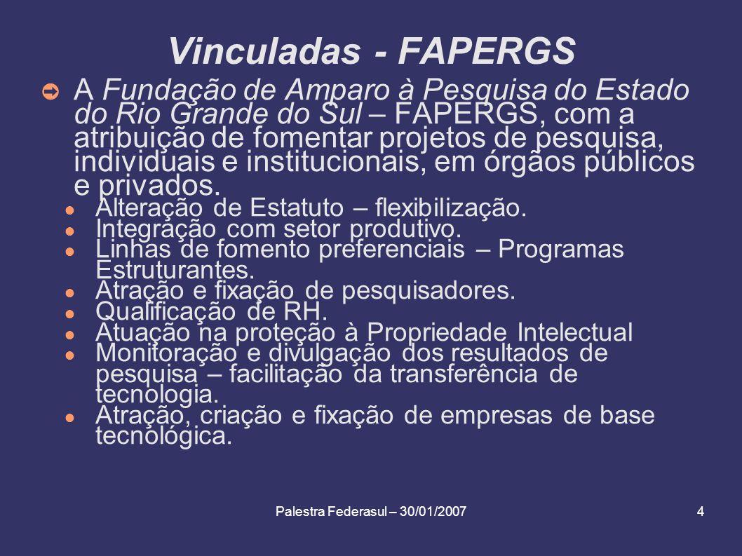 Palestra Federasul – 30/01/20074 Vinculadas - FAPERGS A Fundação de Amparo à Pesquisa do Estado do Rio Grande do Sul – FAPERGS, com a atribuição de fo