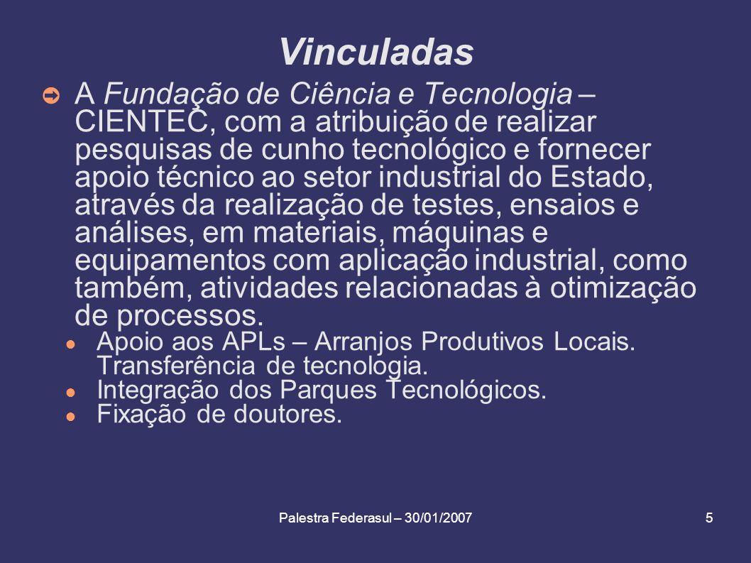Palestra Federasul – 30/01/200716 Programas Estruturantes relacionados com C&T&I Programa de Pólo Tecnológico Estadual para Integração dos Parques Tecnológicos do RS.